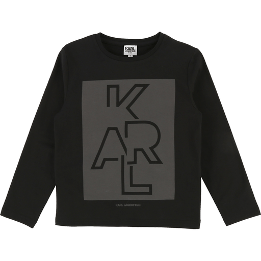 Karl Lagerfeld Chandails 16Y / Noir T-shirt noir avec imprimé graphique Black t-shirt with graphic print