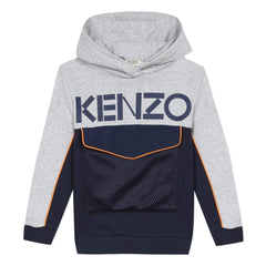 Kenzo Pulls Pull à capuche bleu et gris Grey and blue hoodie