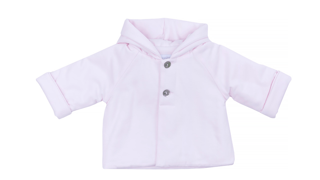 Laranjinha Manteaux 12M / Rose Manteau doublé rose Pink hooded coat