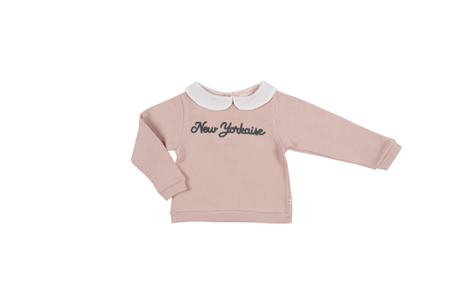 Les Petites Choses Hauts 10Y / Rose Chandail rose avec col blanc Pink t-shirt with white collar