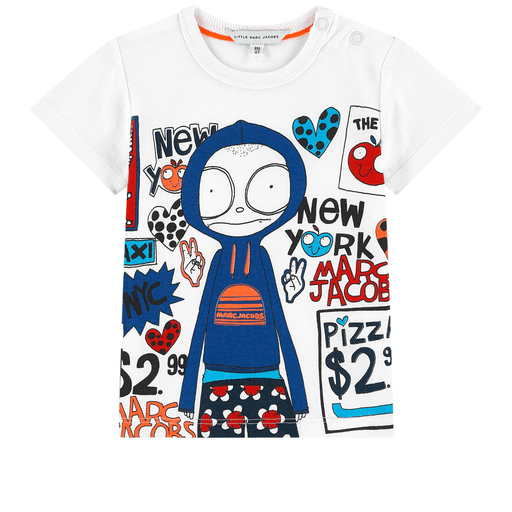 Little Marc Jacobs Chandails 2Y / Blanc T-shirt blanc imprimé White t-shirt with printed drawing
