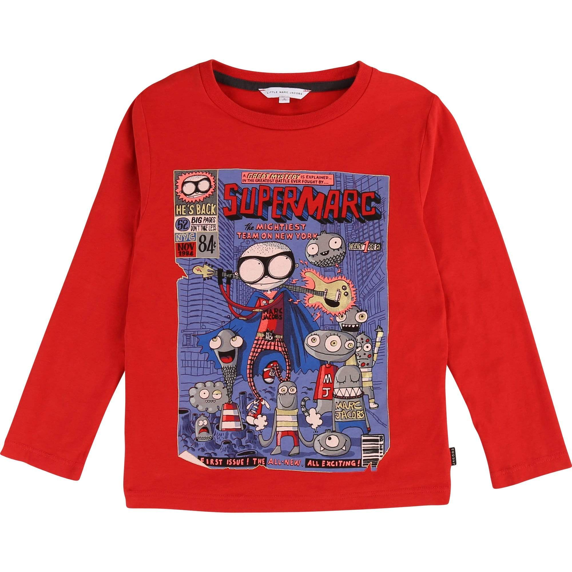 "Little Marc Jacobs Chandails 4Y / Rouge Tee-shirt en jersey coton avec illustration ""Comics"" et raiser tissé MARC JACOBS noir."
