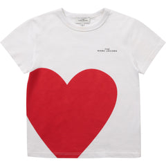 Little Marc Jacobs Chandails Chandail blanc coeur Heart white t-shirt