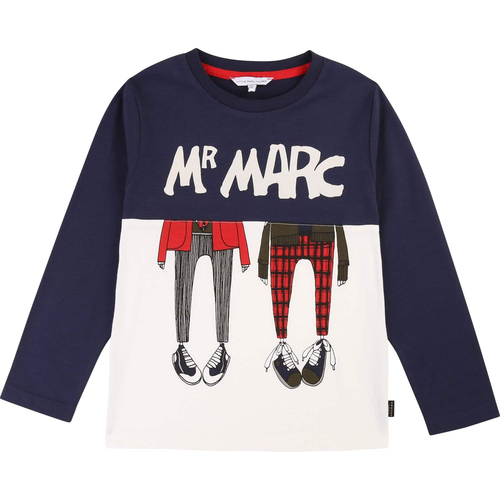 Little Marc Jacobs Chandails Tee-shirt bicolore en jersey coton avec illustration fantaisie et raiser tissé MARC JACOBS noir.