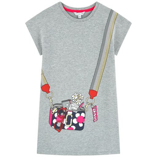 Robe grise.Manche courte et col rond.Petit sac imprimé - Grey dress.Short sleeves with round collar.Little bag printed.
