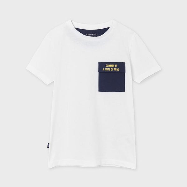 Mayoral Chandail blanc à poche White t-shirt with pocket