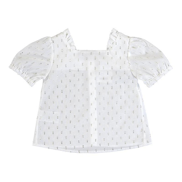 Mayoral Chandails Blouse blanche à manches bouffantes White puffy sleeve blouse