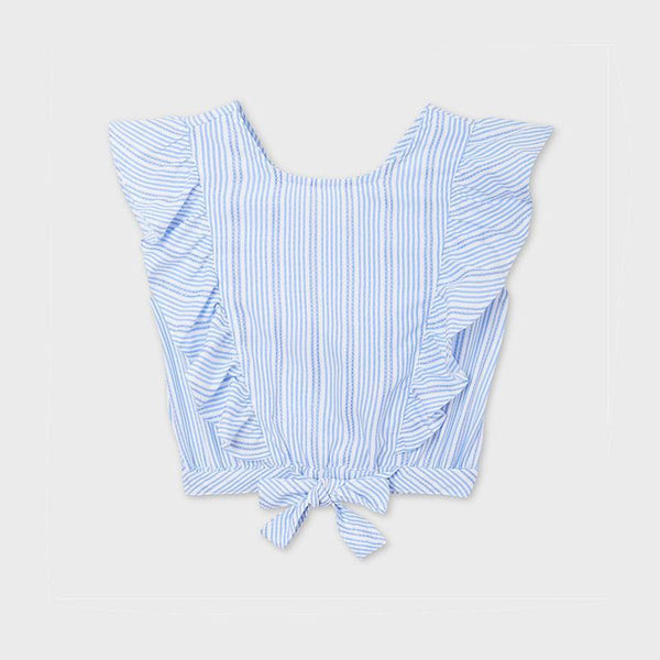 Mayoral Chandails Blouse bleue rayée Striped blue blouse