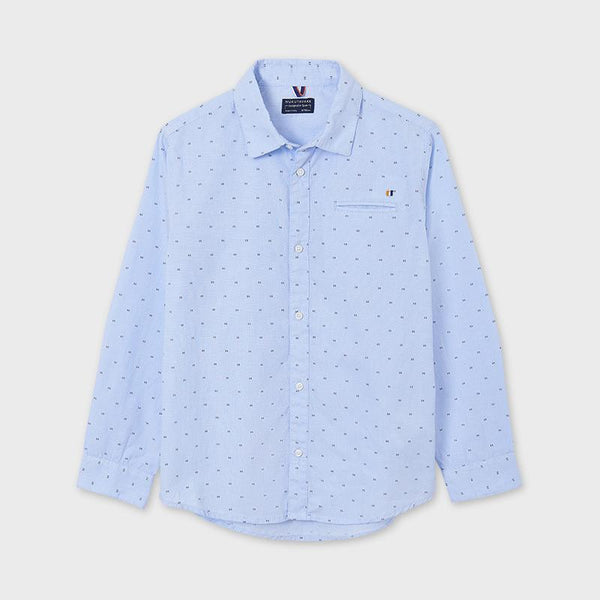 Mayoral Chemises Chemise bleue à pois Blue polka dot shirt