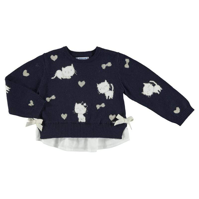 Mayoral Hauts 6M / Bleu Pull chatons Kitties pull-over