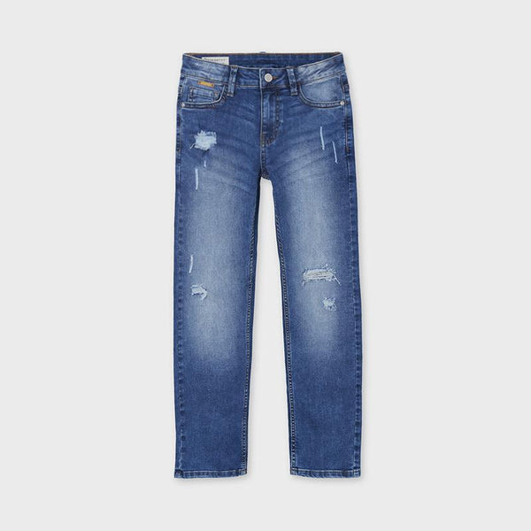 Mayoral Pantalons Pantalon en denim bleu Blue denim pants