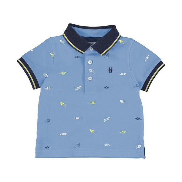 Mayoral Polos Polo bleu pâle à imprimé Printed light blue polo