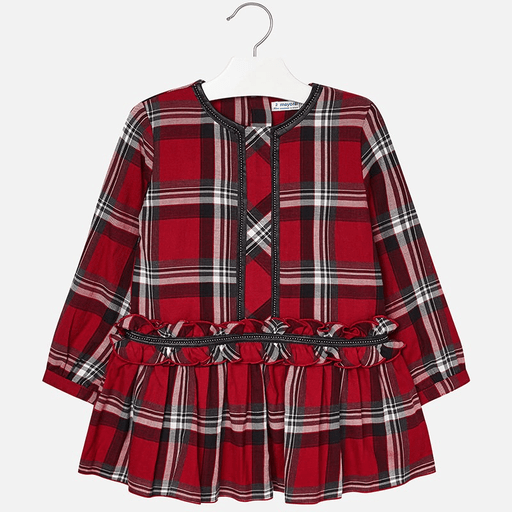 Mayoral Robes 8Y / Rouge Robe rouge à carreaux Red check dress