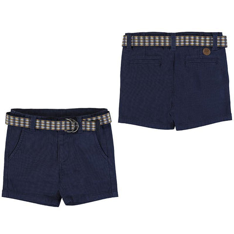 Mayoral Shorts Short bleu marin à ceinture Navy blue shorts with a belt
