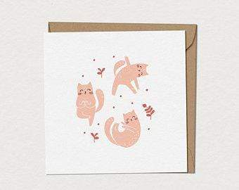 Mimosa Design Accessoires O/S / Beige Petite Carte de souhaits Namasta chat Namasta chat greeting card small