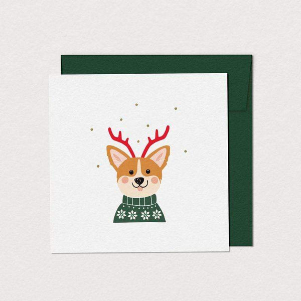 Mimosa Design greeting_card Cartes de souhaits corgi des fêtes Festive corgi greeting card