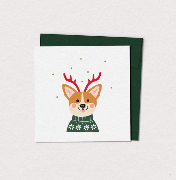 Mimosa Design greeting_card Petite carte de souhaits corgi des fêtes Festive corgi small greeting card