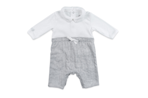 Petit Bateau Combinaisons 12M / Blanc Ensemble blanc et gris White and grey jumpsuit
