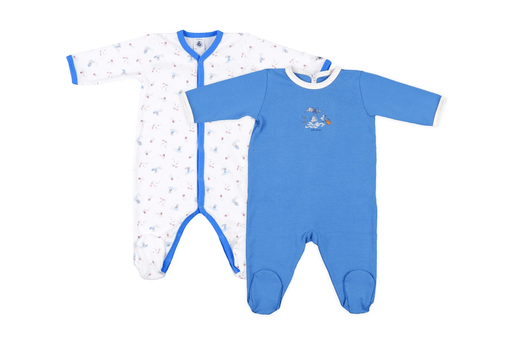 Petit Bateau Pyjamas 1M / Bleu Lot de deux pyjamas Kit of two pyjamas