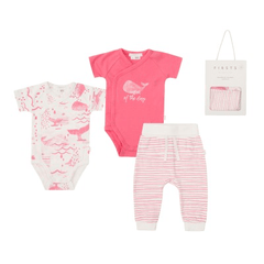 Petit Lem Ensembles 9M / Rose 2 cache-couches, pantalon et couverture tricot 2 pink and white bodysuit, pant and blanket