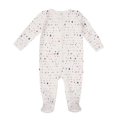 Petit Lem Pyjamas 9M / Beige Pyjama gouttes d'eau rose et bleu marine Pajama patterns water drop pink and blue