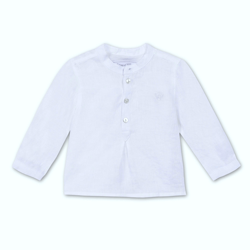 Tartine et Chocolat Chemises 12M / Bleu Haut bleu pale en lin Light blue linen shirt