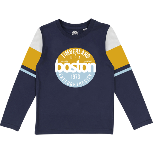 Timberland Chandails 14Y / Bleu T-shirt boston Boston T-shirt