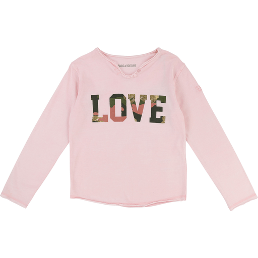 Zadig & Voltaire Chandails 16Y / Rose T-shirt Love rose tendre  Light pink Love t-shirt
