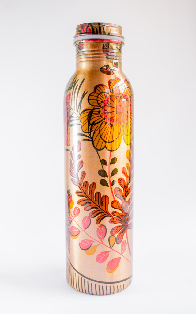 brass water bottle floral india