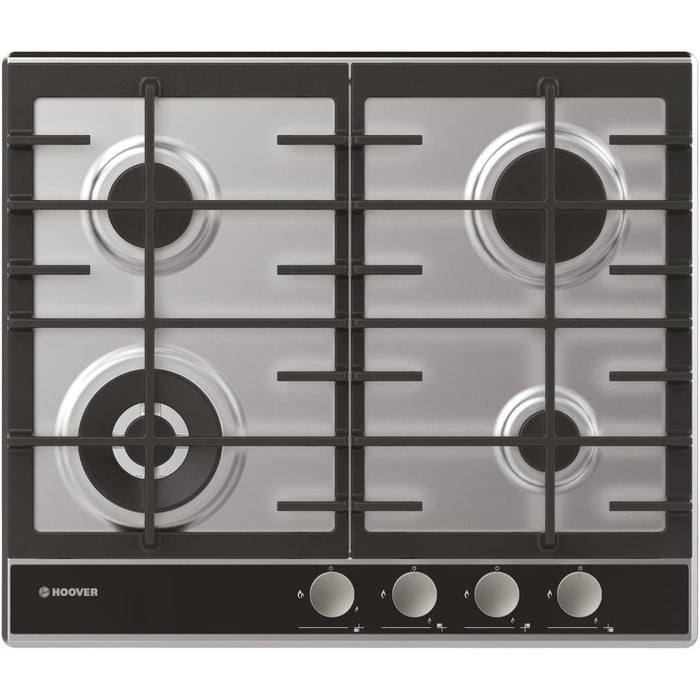 Hoover HHG6BF4WVX 60cm 4 Burner Gas Hob in Stainless Steel/Black