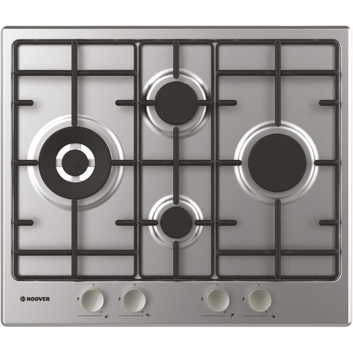 Hoover HHW6D5WSX 60cm 4 Burner Gas Hob in Stainless Steel
