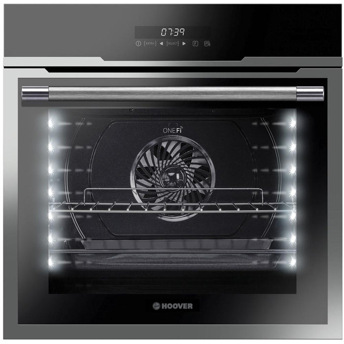 Hoover HOZ7173IN Integrated Wifi Enabled Single Multifunction Oven in Black/Stainless Steel