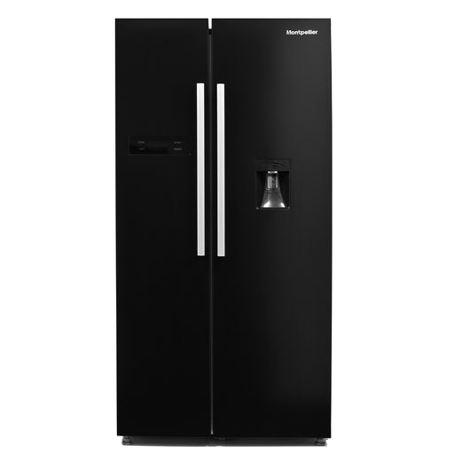 Montpellier M520WDK American Style Fridge Freezer with Non Plumbed Water Dispenser in Black