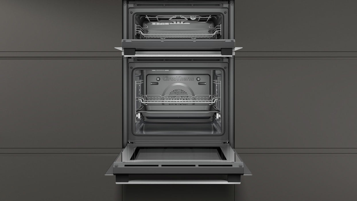Neff N50 U1ACE2HN0B Built-in Double Electric Oven in Stainless Steel/Black