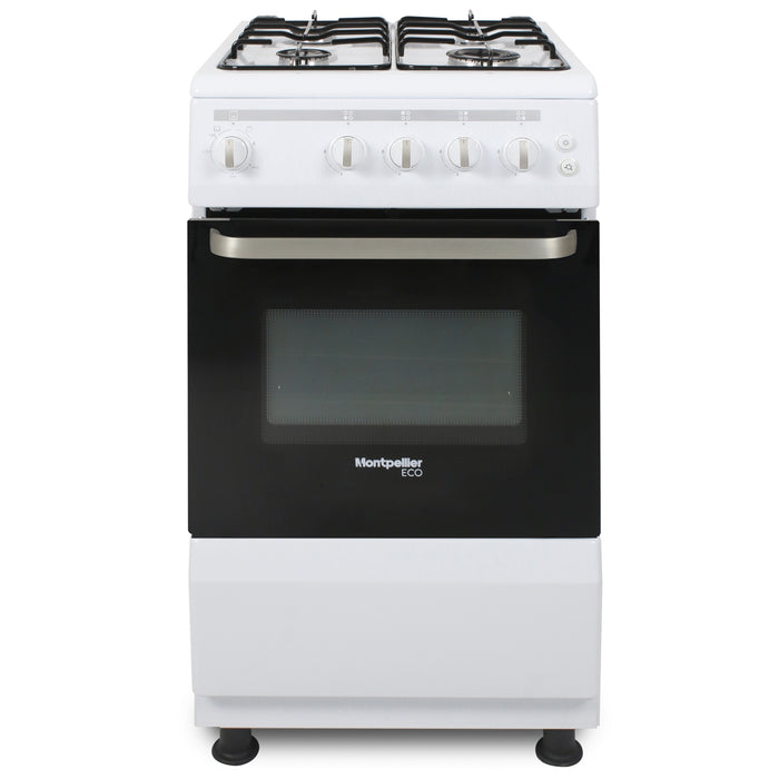 Montpellier Eco SCG50W 50cm Single Cavity Gas Cooker in White
