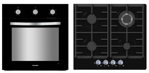 Montpellier SFGP12 Integrated Single Oven & Gas Hob in Black