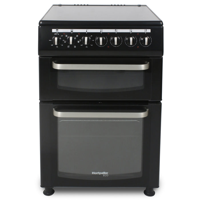 Montpellier Eco TCC60BK 60cm Twin Cavity Ceramic Electric Cooker in Black