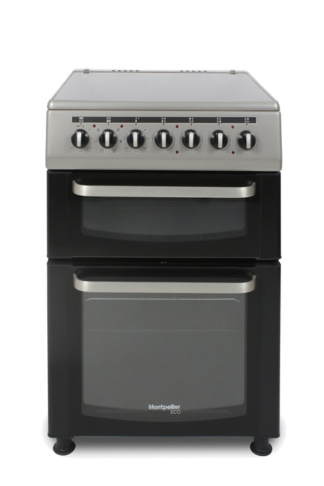Montpellier Eco TCC60S 60cm Twin Cavity Ceramic Electric Cooker in Silver