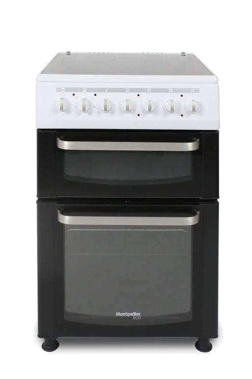 Montpellier Eco TCC60W 60cm Twin Cavity Ceramic Electric Cooker in White