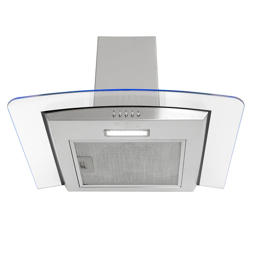 Montpellier MHE600LX 60cm Curved Glass Chimney Hood with LED Edge Lighting