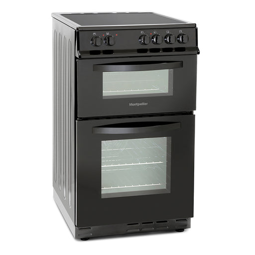 Montpellier MDC500FK 50cm Double Oven Ceramic Hob Electric Cooker in Black