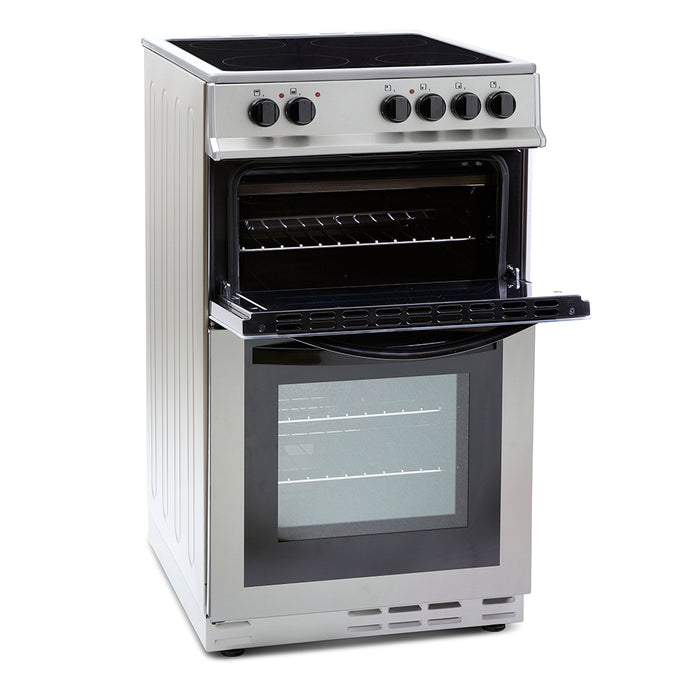 Montpellier MDC500FS 50cm Double Oven Ceramic Hob Electric Cooker in Silver
