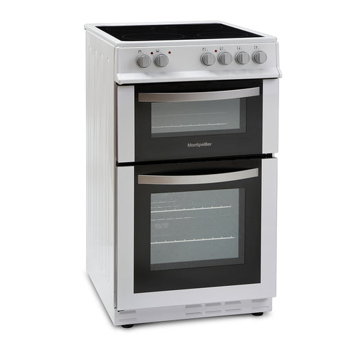Montpellier MDC500FW 50cm Double Oven Ceramic Hob Electric Cooker in White