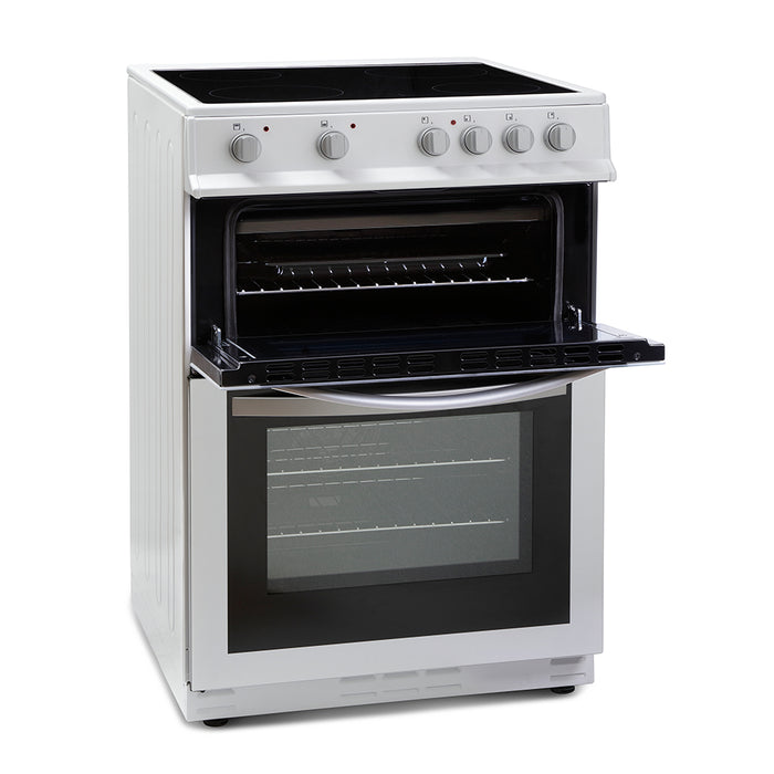Montpellier MDC600FW 60cm Double Oven Ceramic Hob Electric Cooker in White