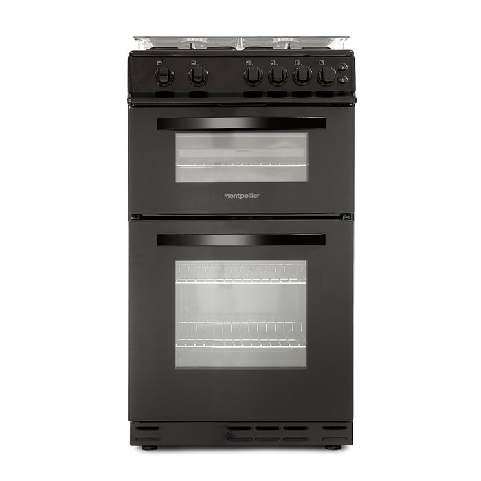 Montpellier MDG500LK 50cm Double Oven Gas Cooker in Black