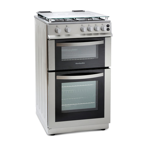 Montpellier MDG500LS 50cm Double Oven Gas Cooker in Silver
