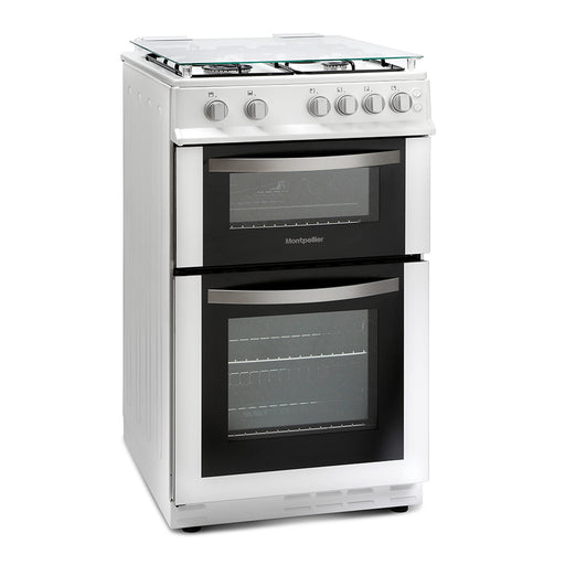 Montpellier MDG500LW 50cm Double Oven Gas Cooker in White