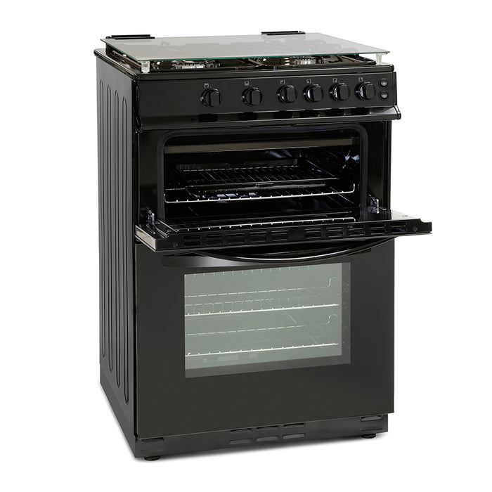 Montpellier MDG600LK 60cm Double Oven Gas Cooker in Black
