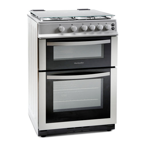Montpellier MDG600LS 60cm Double Oven Gas Cooker in Silver