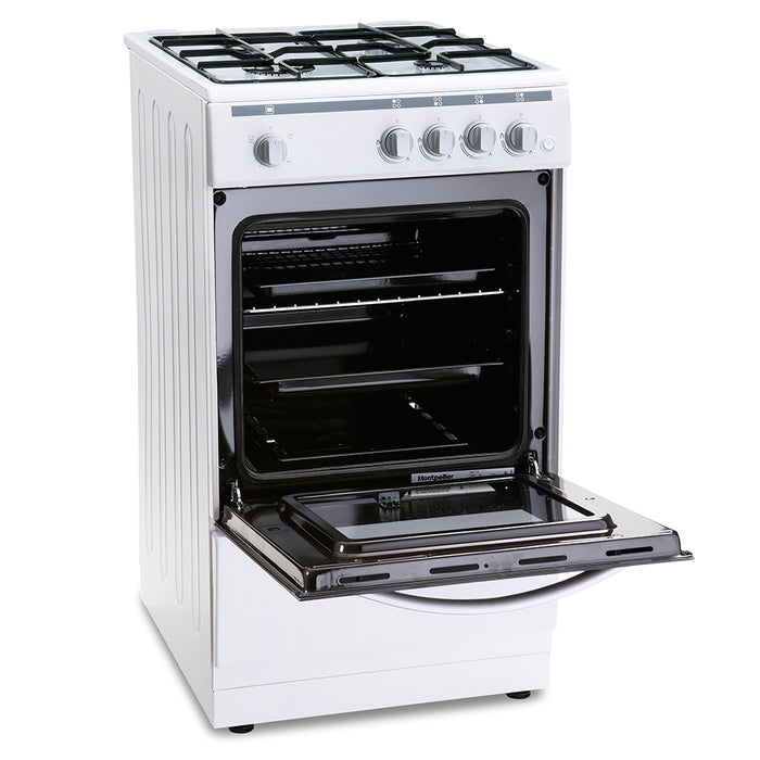 Montpellier MSG50W 50cm Single Cavity Gas Cooker in White
